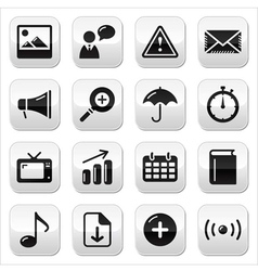 Website internet glossy square buttons set vector