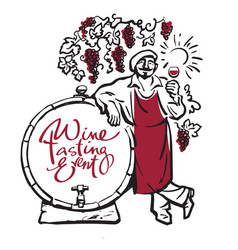 winemaker tasting red wine in glass smiling vector image