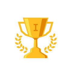 winner cup flat design icon trophy prize on white vector image