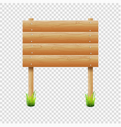 wooden notice board with grass on transparent vector image