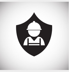 worker on shield on white background vector image