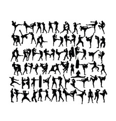 Wrestling and boxing sport activity silhouettes vector