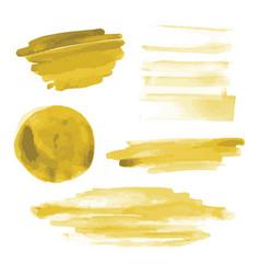 Yellow gold watercolor shapes circle brush strokes vector
