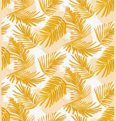 yellow seamless palm pattern fabric interior vector image