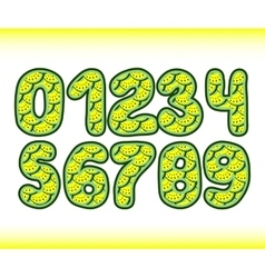 Yellow watermelon numbers 1234567890 in vector image