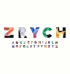 zrych colorful wavy alphabet vector image