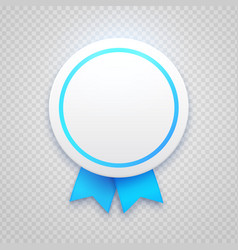 badge with blue ribbon on transparent background vector image