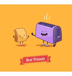 Best friends cartoon Breakfast vector image