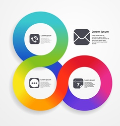 Circle infographic web template of color stripe vector