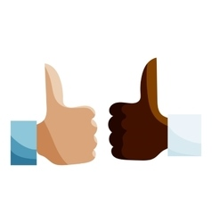 Hands different nationalities showing Like icon vector image
