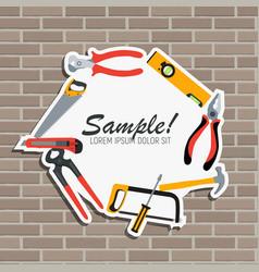 repair tools and instruments on brick wall vector image