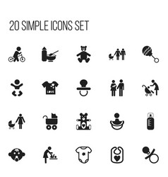 Set of 20 editable kid icons includes symbols vector