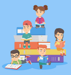 caucasian kids reading books together vector image