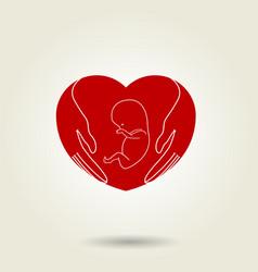 conceptual symbol of hands protecting embryo vector image