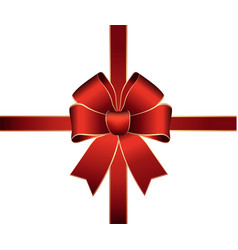 smooth red satin ribbon beam on a white background vector image