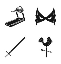 treadmill mass and other web icon in black style vector image vector image