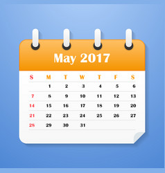 Usa calendar for may 2017 week starts on sunday vector