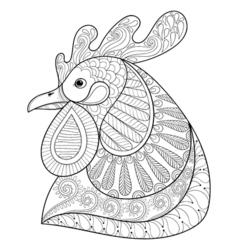 Zentangle Cartoon rooster vector image