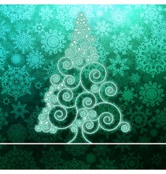 Christmas card stylized green glowing EPS8 vector image
