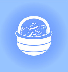 easter basket with eggs icon vector image