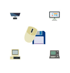 Flat icon laptop set of computer pc computer vector