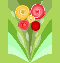 modern flower bouquet with red and yellow roses vector image vector image