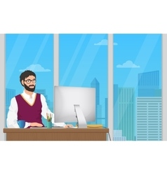 Business man entrepreneur working at his office vector image vector image