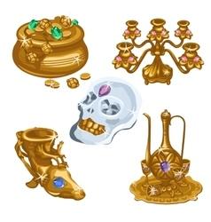 Jugs precious skull and chandelier five items vector
