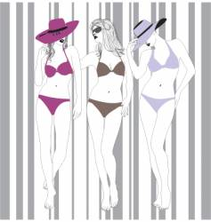 models in bathing suits vector image