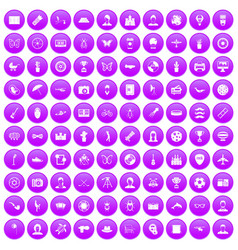 100 photo icons set purple vector
