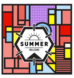 Abstract geometric summer poster and banner vector