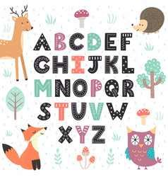 Alphabet poster with cute forest animals wall art vector