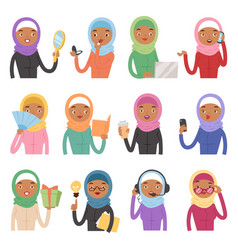 arabic woman adult character different role vector image
