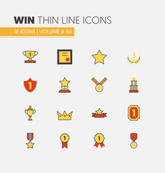 awards and trophy linear thin line icons vector image