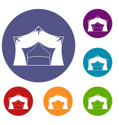 awning tent icons set vector image
