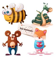 bee snake bear fox - set animals vector image