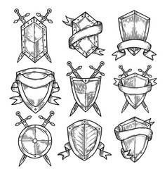 Blank or empty shields with swords and ribbons vector