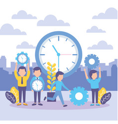 business people with clock vector image