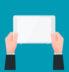 Businessman hands holding white touchpad vector