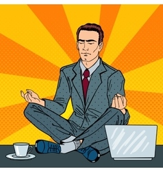 Businessman meditating on office table vector