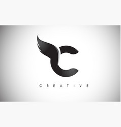 C letter wings logo design with black bird fly vector
