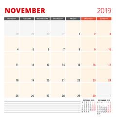 calendar planner template for november 2019 week vector image