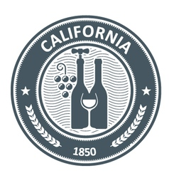 California vineyard emblem - stamp with wine vector