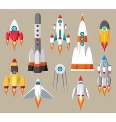 Cartoon rockets icons vector