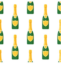 champagne bottle seamless pattern vector image