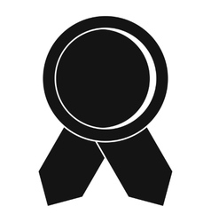 Circle badge wih ribbons icon simple style vector
