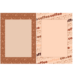 Coffee beans and cups in beige backgrounds vector