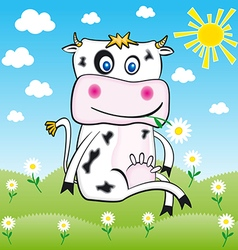 Cow in farm flower background music design floral vector image