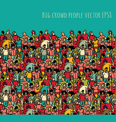 crowd big group people seamless pattern and sky vector image