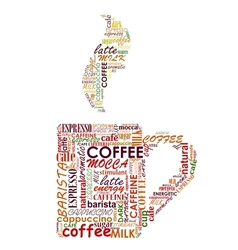 cup coffee with tags cloud vector image